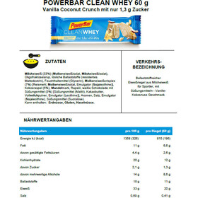 PowerBar Clean Whey Riegel Box Vanilla Coconut Crunch 18 x 60g